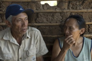 Lorenzo Charupá and his wife Polonia Tomicha at a cattle cooperative in Monte Verde, Bolivia. Photo by Chris Hufstader/Oxfam America.