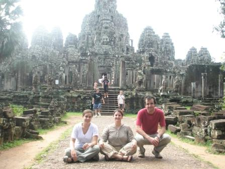 Oxfam Staff Clara Herrero, Miriam Aschkenasy, and Jacobo Ocharan take in the sights at the ancient temples of Angkor Wat in Cambodia.
