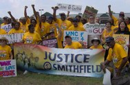 Demonstrators gather in suppport of justice for workers employed by Smithfield Foods. Photo by UFCW